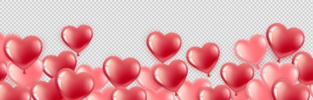 Latające Czerwone I Różowe Balony W Kształcie Serca Premium Wektorów