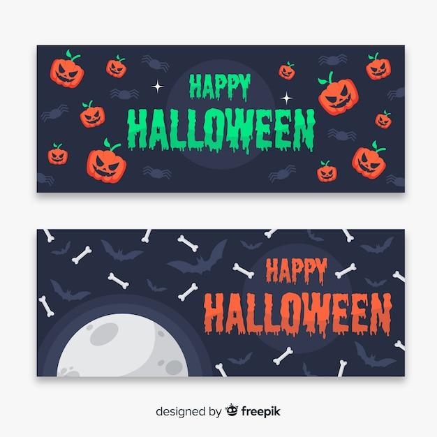 Latające Kości I Dynie Płaskie Banery Halloween Darmowych Wektorów