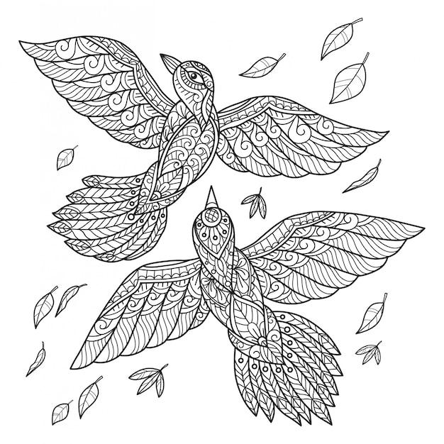 Latające Ptaki Ręcznie Rysowane Szkic Ilustracji Dla Dorosłych Kolorowanka Premium Wektorów