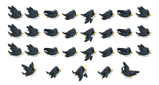Latające Ptaki Z Czarnego Ptaka Premium Wektorów