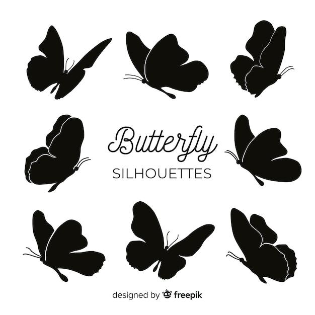 Latające sylwetki motyla Darmowych Wektorów