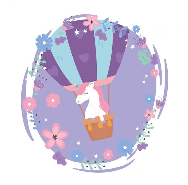 Latający Jednorożec W Gorącym Powietrzem Balon Kwiaty Niebo Fantazja Magia Sen Cute Cartoon Ilustracji Premium Wektorów