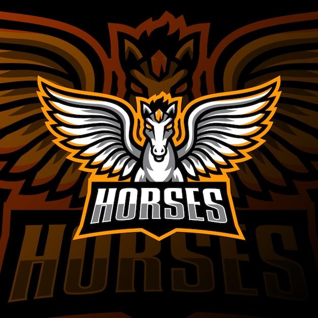 Latający Koń Maskotka Logo Esport Gaming Premium Wektorów