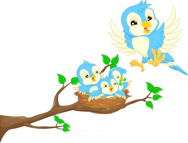 Latający ptak i noworodek ptak w gnieździe Premium Wektorów