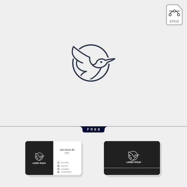 Latający Ptak Zarys Logo Szablon Ilustracji Wektorowych I Projekt Wizytówki To Premium Wektorów