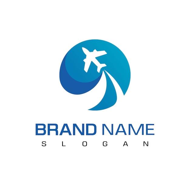 Latający samolot dla podróży logo szablon Premium Wektorów