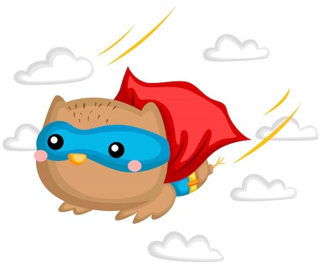 Latający Superbohater Sowy Premium Wektorów