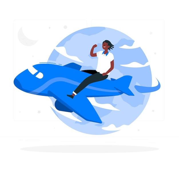 Latanie Dookoła świata (z Samolotem) Ilustracja Koncepcja Darmowych Wektorów