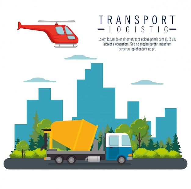 Latanie helikopterem i transport ciężarowy Darmowych Wektorów