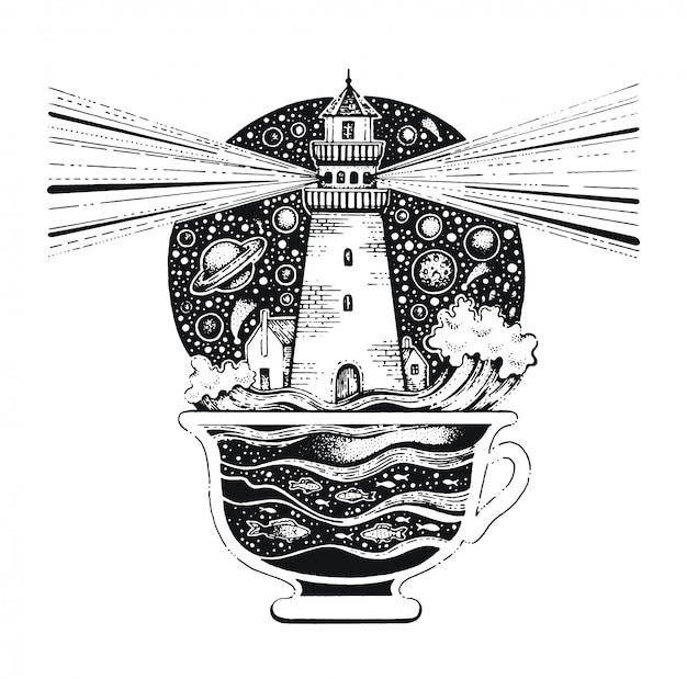 Latarnia morska w filiżance kawy czarna grafika liniowa. szkic w stylu vintage do nadruku na koszulce lub tatuażu. Premium Wektorów
