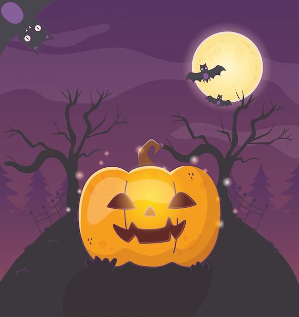 Latarnie z dyni nietoperzy halloween Premium Wektorów