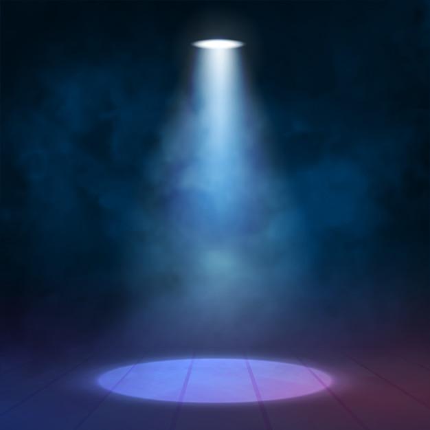 Latarniowy reflektor iluminacyjny oświetla drewnianą scenę Premium Wektorów