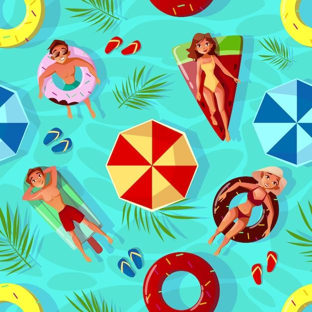 Lato basen ilustracja bezszwowy deseniowy tło z ludźmi na pływanie pierścionkach ja Darmowych Wektorów