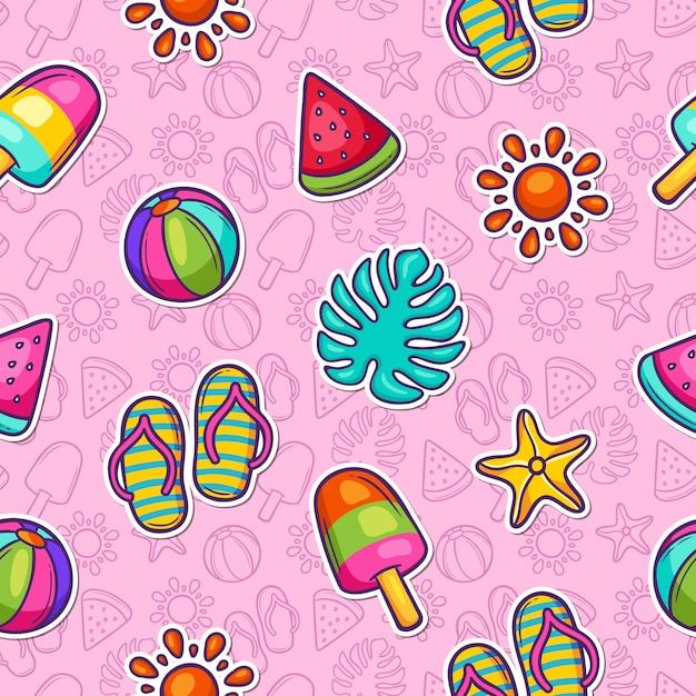 Lato Doodle Kolorowy Wzór Darmowych Wektorów