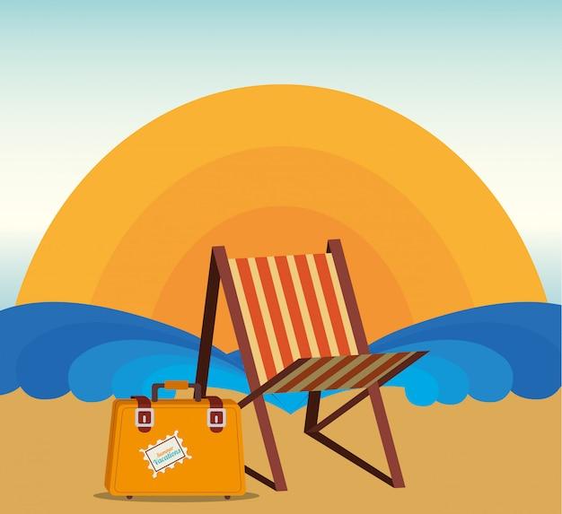 Lato I Wakacje, Leżak I Walizka Na Plaży Darmowych Wektorów