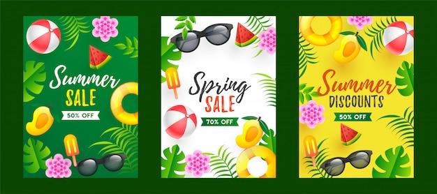 Lato i wiosna sprzedaż szablon projektu w różnych kolorach Premium Wektorów