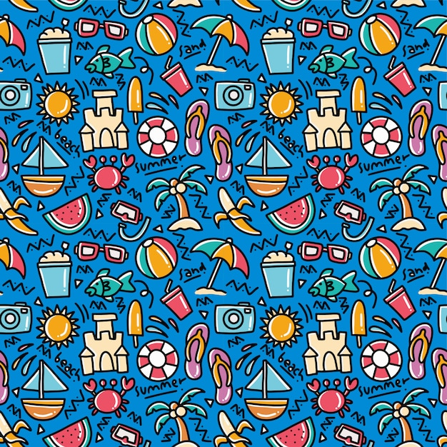 Lato Plaża Doodle Wzór Premium Wektorów
