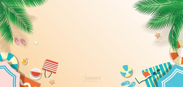 Lato Plaża Tło, Widok Z Góry Panoramiczny Premium Wektorów