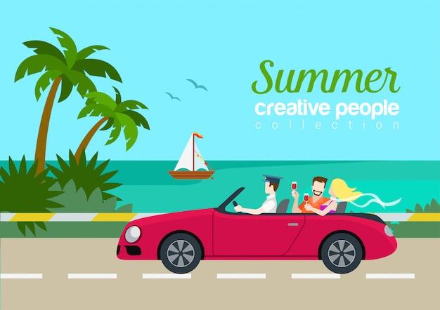 Lato Podróży Pary Cabrio Samochodowego Płaskiego Pojęcie Wakacje Pocztówki Wektorowy Szablon. Piękny Kobieta Mężczyzna Napoju Wina Tylne Siedzenie Nad Morzem Wyspa Drogi Jacht. Premium Wektorów