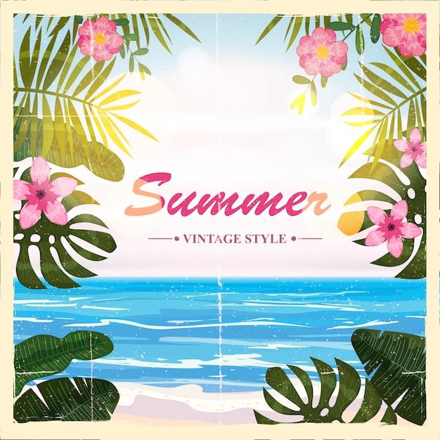 Lato Retro Plakat Tło, Kwiaty, Plaża, Ilustracje Premium Wektorów