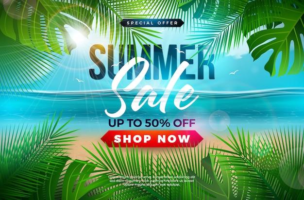 Lato Sprzedaż Szablon Transparent Projekt Z Liści Palmowych I Niebieski Ocean Krajobraz Darmowych Wektorów