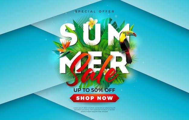 Lato sprzedaż transparent z kwiatem i ptak tukan Premium Wektorów