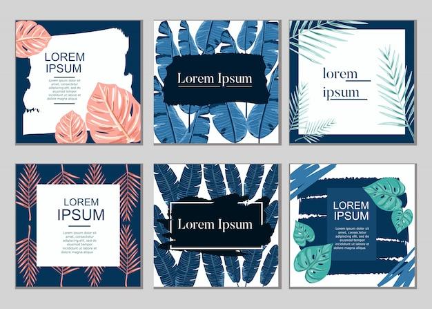 Lato sprzedaży roślin tropikalnych karty zestaw kolekcja wektor Premium Wektorów