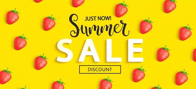 Lato Sprzedaży Truskawka Transparent Na żółty Premium Wektorów