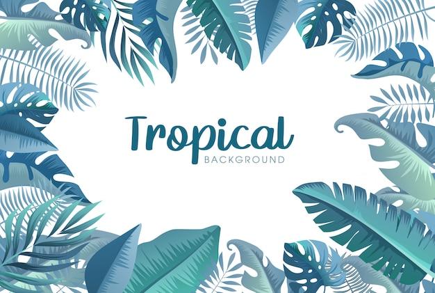 Lato Tropikalny Tło Z Egzotycznymi Palmami Premium Wektorów