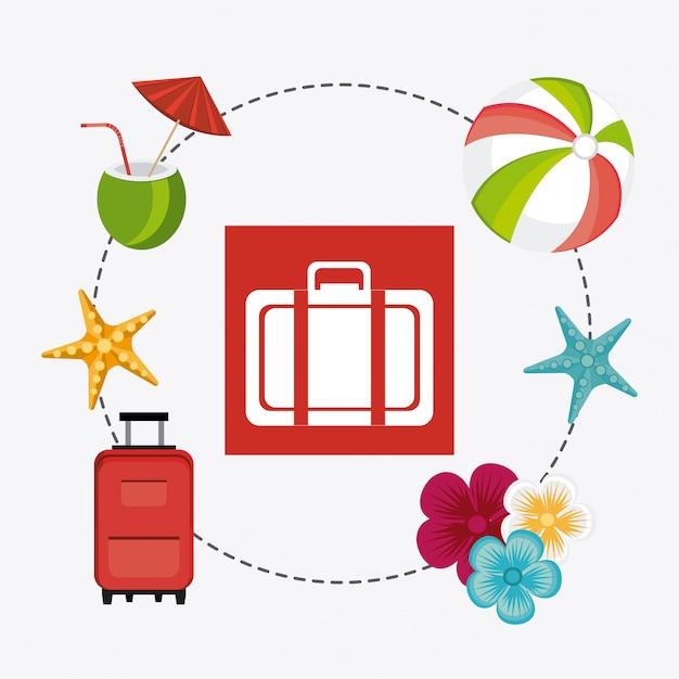Lato, wakacje i podróże Darmowych Wektorów