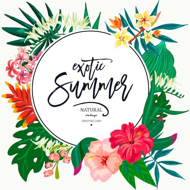 Lato Wektor Pozostawia Rocznika Egzotyczne Kartkę Z życzeniami Premium Wektorów