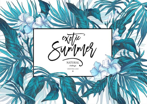 Lato wektor pozostawia vintage egzotyczne kartkę z życzeniami Premium Wektorów