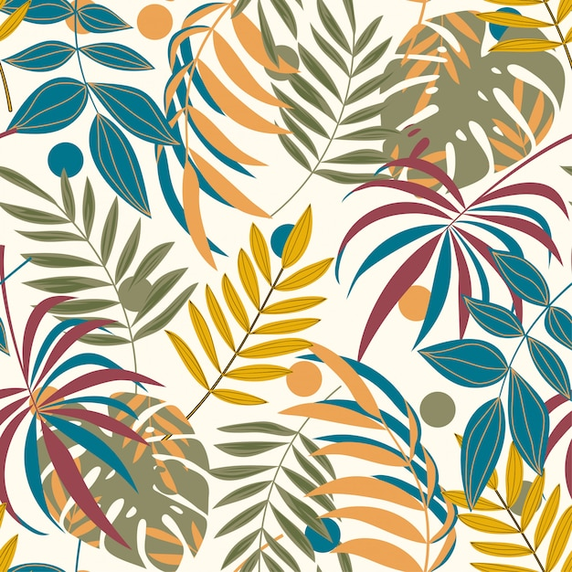 Lato wzór z kolorowych liści tropikalnych Premium Wektorów
