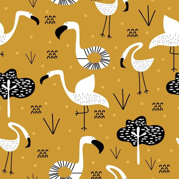 Lato wzór z ślicznym flamingo skandynawskim rysunkiem Premium Wektorów