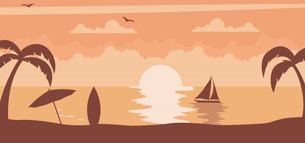 Lato zachód słońca ze słońcem na plaży Premium Wektorów