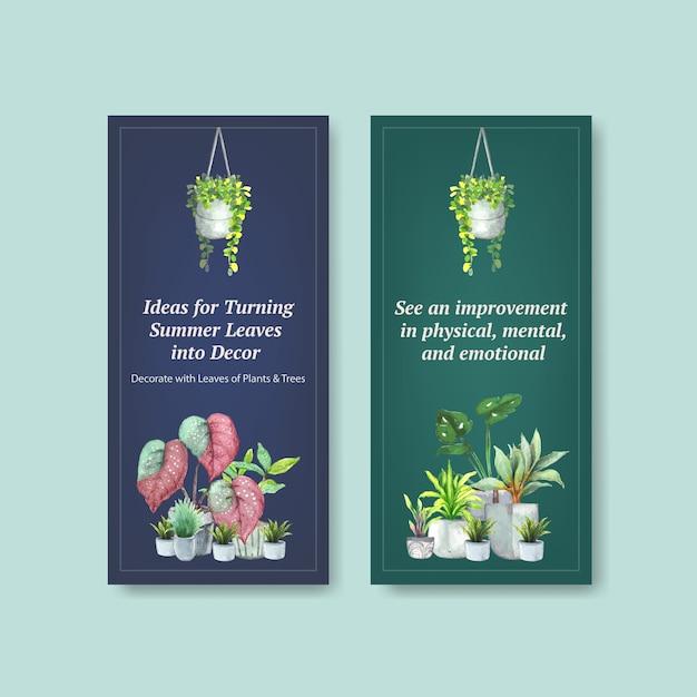Lato Zasadza Ulotka Szablonu Projekt Dla Ulotki, Broszury, Reklamuje Akwareli Ilustrację Darmowych Wektorów