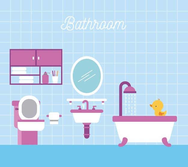 Łazienka Wanna Prysznic Papier Toaletowy Gabinet I Kaczka Premium Wektorów