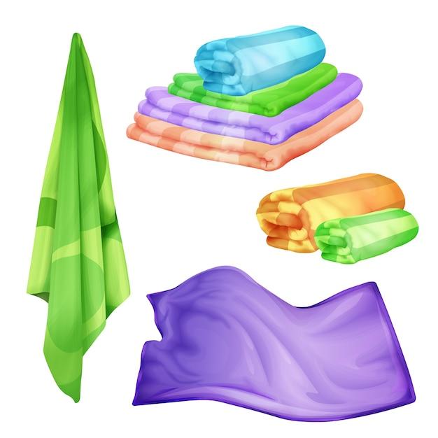 Łazienka, zestaw ręczników w kolorze spa. realistyczne składane, wiszące puszyste bawełniane przedmioty Darmowych Wektorów