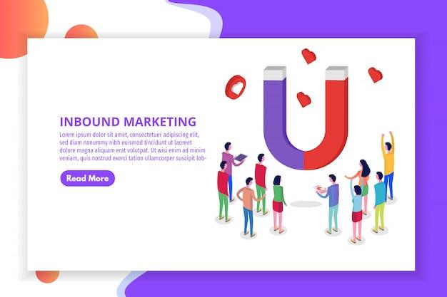Lead Generate, Koncepcja Izometryczna Magnesu Przychodzącego Marketingu. Ilustracja Premium Wektorów