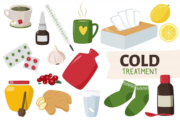 Leczenie Domowe I Leki Na Przeziębienie. Premium Wektorów