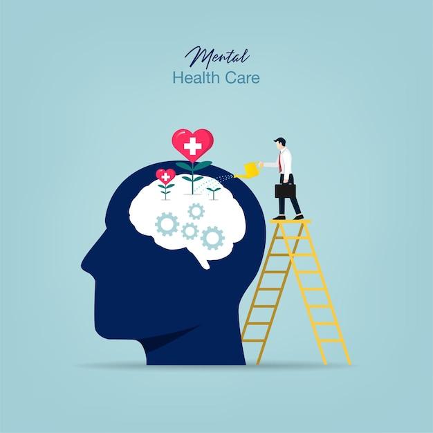 Leczenie Psychiatryczne. Człowiek Podlewania Roślin Mózgu Premium Wektorów
