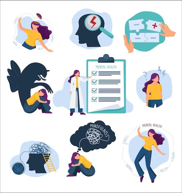 Leczenie Psychiczne. Problemy Umysłowe I Opieki Zdrowotnej Ilustracja Koncepcja Leczenia Emocjonalnego Ochrony Człowieka. Zdrowie Psychiczne, Leczenie I Terapia Premium Wektorów