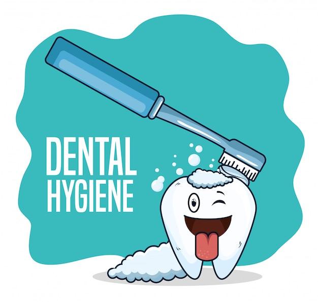 Leczenie zębów za pomocą szczoteczki do zębów Darmowych Wektorów