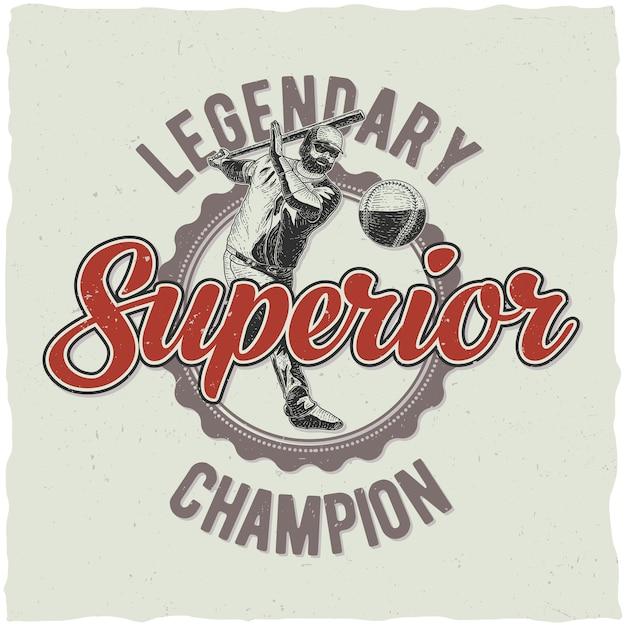 Legendarny Plakat Mistrzostw Baseballu Darmowych Wektorów