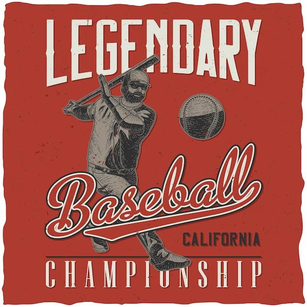 Legendarny Plakat Retro Mistrzostw Baseballu Darmowych Wektorów
