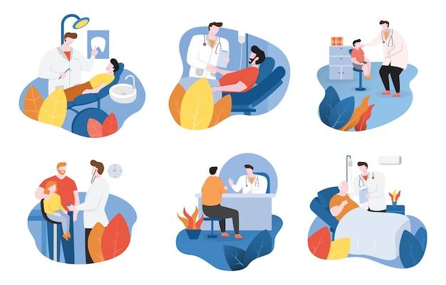 Lekarka Sprawdza Cierpliwych Zdrowie I Daje Zachęty Płaskiego Projekta Ilustrację Premium Wektorów