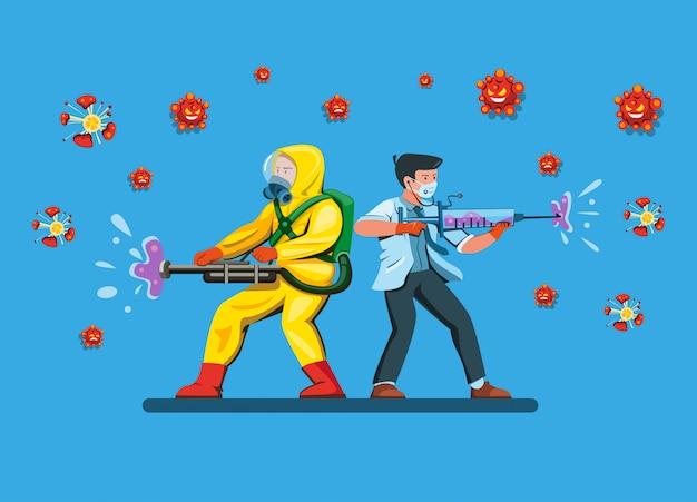 Lekarka Z Mężczyzna Odzieży Kostiumu Hazmat Walczy I Niszczy Bakterie Wirus Używa Sterylizatora I Strzykawkę Jako Broń W Komicznej Kreskówki Mieszkania Ilustraci Premium Wektorów