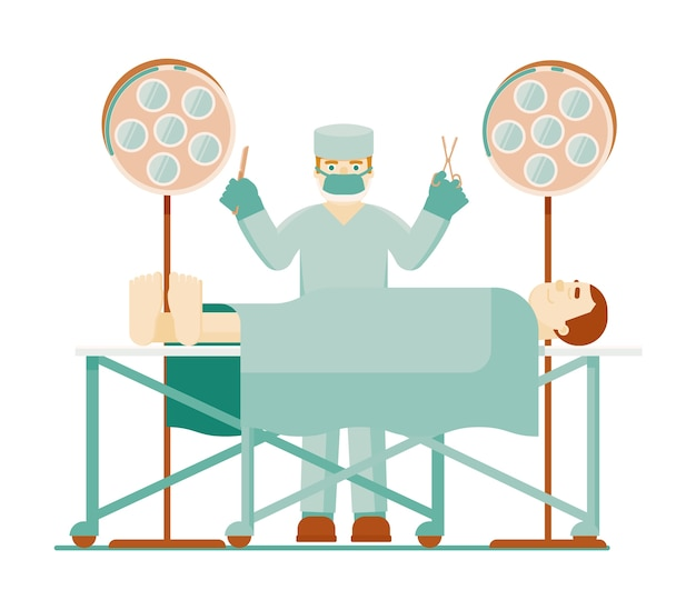 Lekarz Chirurg. Lekarz Chirurg W Mundurze Ochronnym Z Narzędzia Medyczne I Pacjenta W Znieczuleniu W Sali Operacyjnej Z Reflektorem Na Białym Tle. Ilustracja Intensywnej Terapii Premium Wektorów