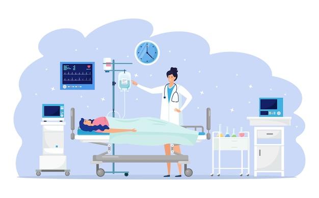 Lekarz I Pacjent Na Oddziale Medycznym. Kobieta Spoczywa Na łóżku Szpitalnym Podczas Intensywnej Terapii Kroplomierzem. Pomoc W Nagłych Wypadkach. Test Kliniczny, Diagnoza, Badanie. Koncepcja Hospitalizacji. Projekt Kreskówki Premium Wektorów
