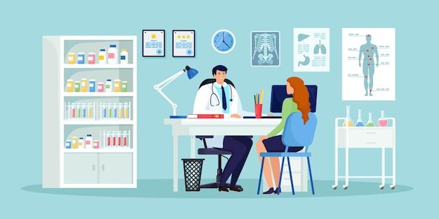 Lekarz I Pacjent Przy Biurku W Biurze Szpitala. Wizyta W Klinice Na Badanie, Spotkanie Z Lekarzem, Rozmowa Z Lekarzem Na Temat Wyników Diagnozy. Projekt Kreskówki Premium Wektorów
